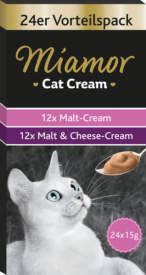 Miamor Cat Snack (Cream) Vorteilspack:  Malt-Cream + Malt-Cream Käse 24x15g